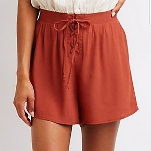 Pants - High waisted Lace Up Shorts